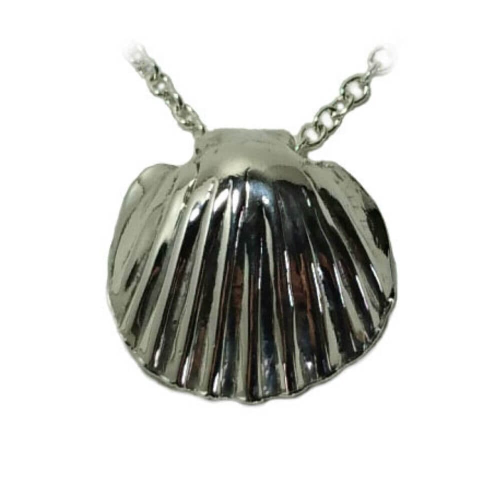 Silver Scallop Shell Pendant, on a silver necklace.