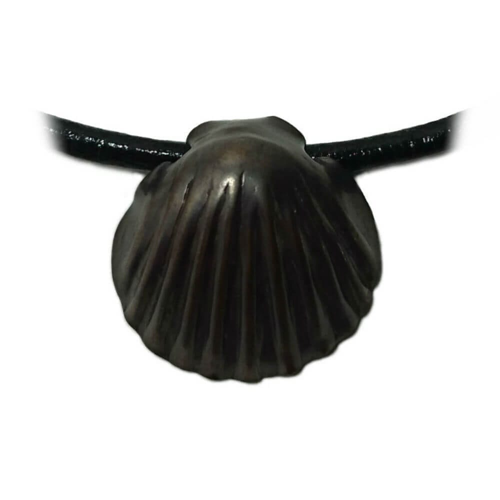 Bronze Shell Pendant - Smoked Bronze on a black leather necklace.