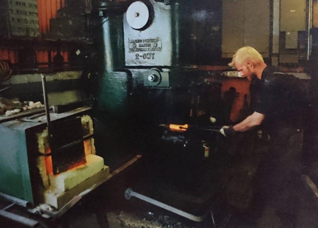 Alldays and Onions 2Cwt Power Hammer - Charles Atkinson forging Steel - Atkinson-art, Cornwall, England, UK