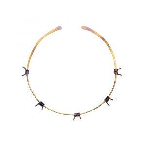 Barbed Wire Choker No:2 Pure Titanium Golden Purple - ViXen zone - by Atkinson-art, Cornwall, England, UK