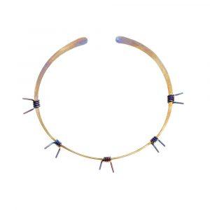 Barbed Wire Choker No:3 Pure Titanium Golden Purple - ViXen zone - by Atkinson-art, Cornwall, England, UK
