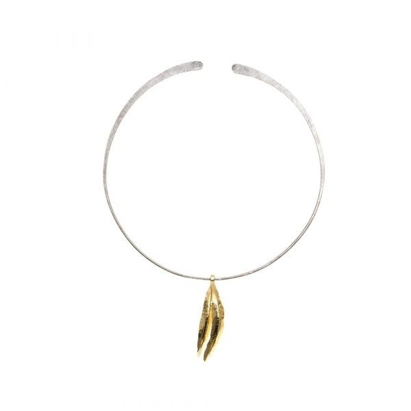 Feather Gold on Pure Titanium Choker by Atkinson-art, Cornwall, England, UK