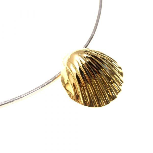 Scallop Shell Gold on pure Titanium Choker by Atkinson-art, Cornwall, England, UK
