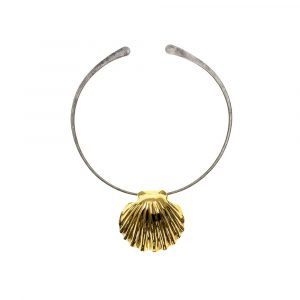 Statement Shell Gold on pure Titanium Choker by Atkinson-art, Cornwall ,England, UK