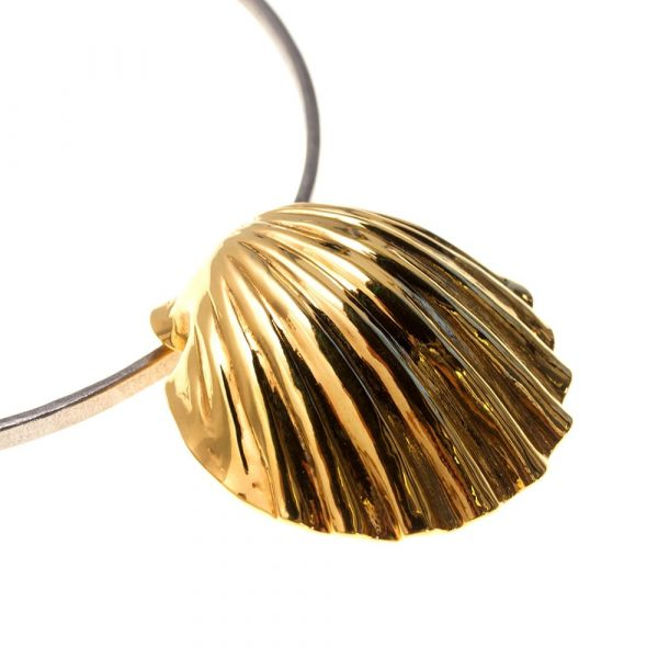 Statement Shell Gold on pure Titanium Choker by Atkinson-art, Cornwall ,England, UK