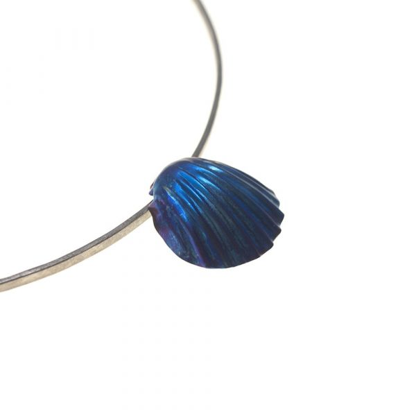 Scallop Shell Titanium Super Electric Blue on pure Titanium Choker by Atkinson-art, Cornwall, England, UK