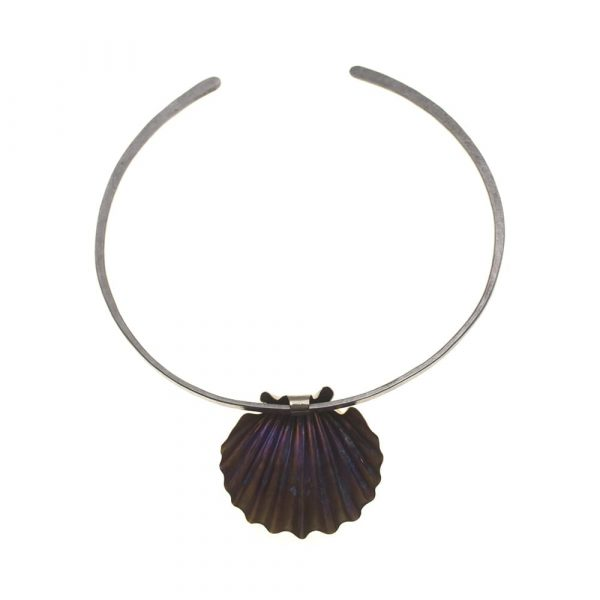 Statement Shell Titanium Golden Purple on pure Titanium No:3 Choker by Atkinson-art, Cornwall ,England, UK