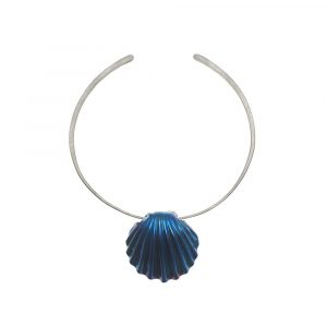Statement Shell Titanium Super Electric Blue on pure Titanium No:3 Choker by Atkinson-art, Cornwall ,England, UK