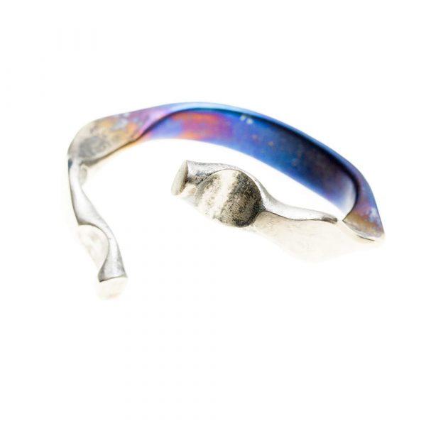 Viking Dragon Super Electric Blue VIII Forged Titanium bracelet by Atkinson-art, Cornwall, England, UK