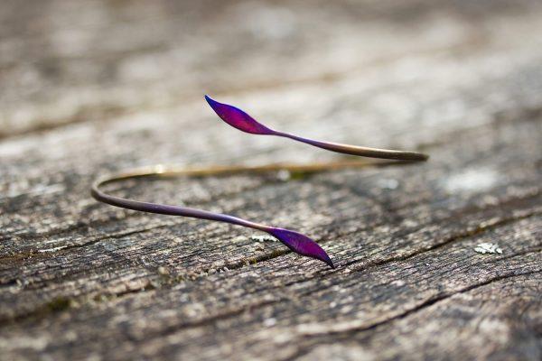 Leaf Forged Titanium Bracelet Golden Purple by Atkinson-art, Cornwall, England, UK