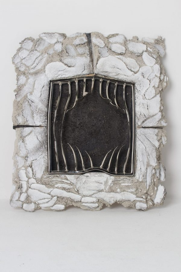 Breakout - wall art - Forged Steel finished in Nickel, set in concrete by Charles Atkinson of Atkinson-art, Cornwall, England, UK