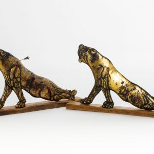Lioness I and II - Brass Bitumen Oak, movable arrows, by Charles Atkinson of Atkinson-art.co.uk, Cornwall, England, UK