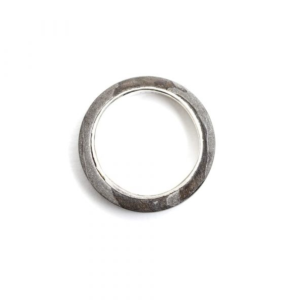 Damascus Steel Silver Lined Ring - seamless and endless jewellery handmade in Cornwall by Atkinson-art.co.uk