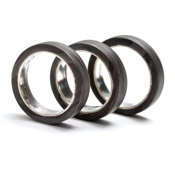 Damascus Steel Silver Lined Rings - seamless and endless jewellery handmade in Cornwall by Atkinson-art.co.uk