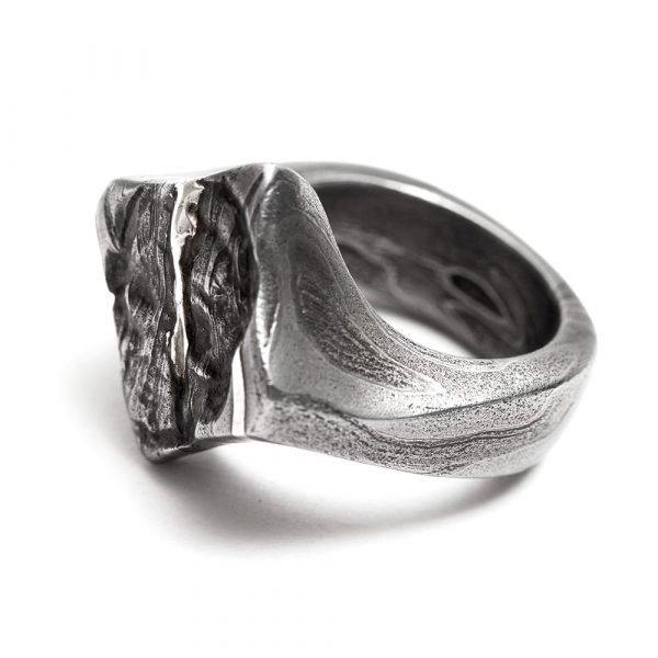 Damascus Steel and Silver Pirate Ring - seamless and endless jewellery handmade in Cornwall by Atkinson-art.co.uk